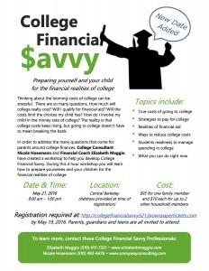 College Financial Savvy 5-21-16 flyer